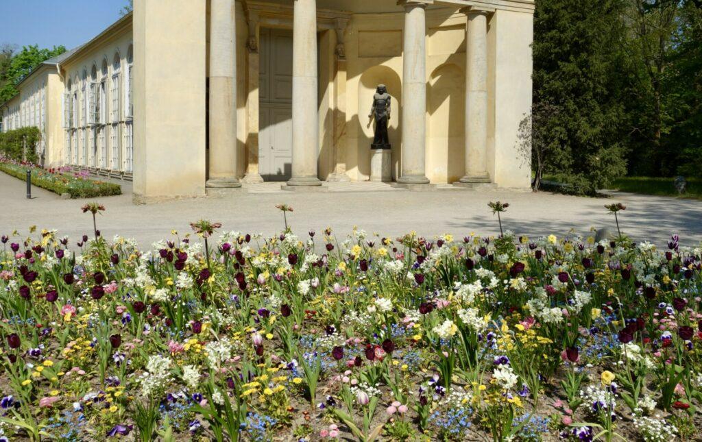 Blick über Blumenbeet zur Orangerie des Neuen Gartens in Potsdam